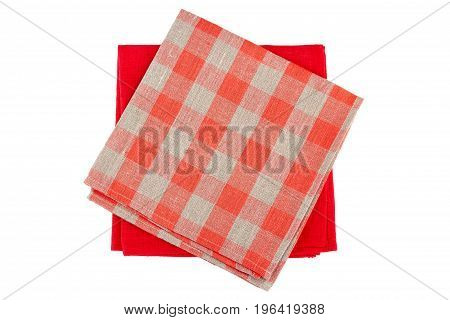 Red and checkered red textile napkins isolated on white background