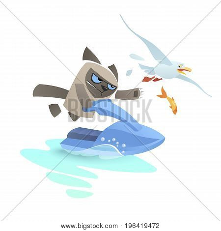 Angry cat on a jet ski pursues a seagull. Grumpy disaffected tomcat have extreme leisure during summer. Blue sea scooter glide on a piece of water. A frightened bird tries to escape, dropping a fish.