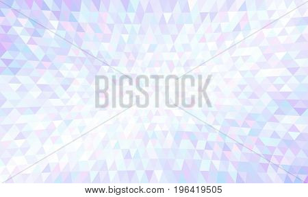 Abstract texture of light colorful triangles. Concave triangular mosaic pattern. Luxury geometric surface with iridescent tints of blue, violet, lilac, pink and white. Useful like a jewelry theme.