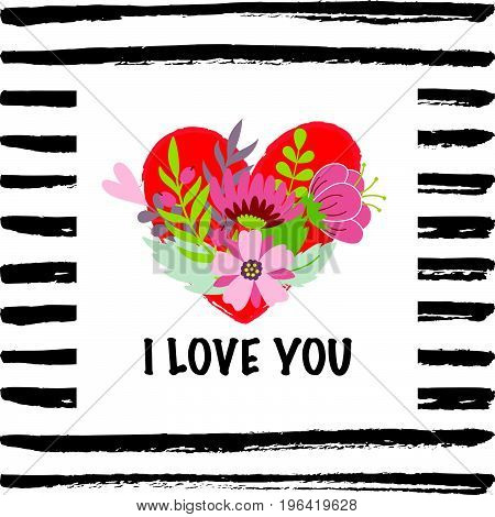 I love you card with a heart and flowers on the hand drawn background
