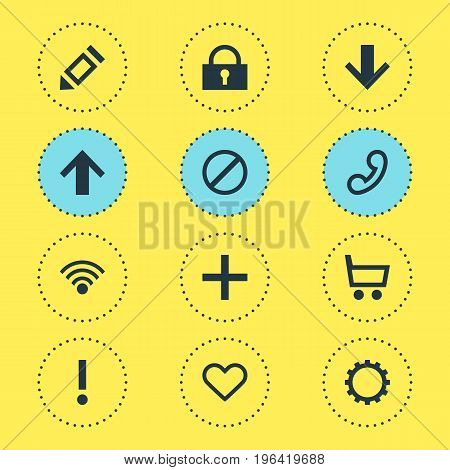 Editable Pack Of Access Denied, Wheelbarrow, Cordless Connection And Other Elements. Vector Illustration Of 12 Interface Icons.