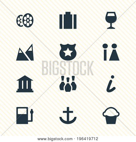 Vector Illustration Of 12 Check-In Icons. Editable Pack Of Film, University, Briefcase And Other Elements.