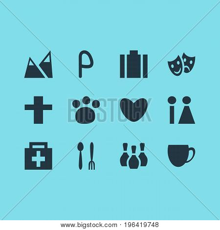 Vector Illustration Of 12 Check-In Icons. Editable Pack Of Coffee Shop, Landscape, Heart Elements.