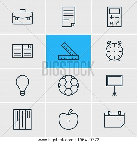 Vector Illustration Of 12 Education Icons. Editable Pack Of Bookshelf, Textbook, Date And Other Elements.