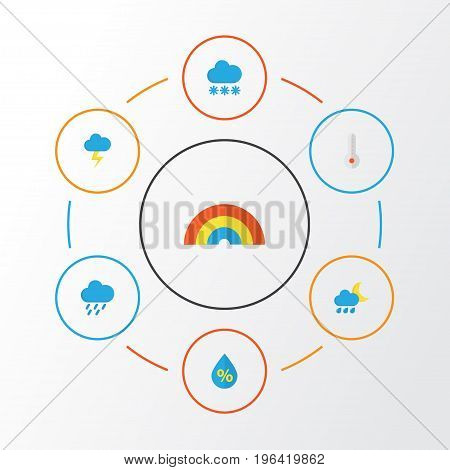 Weather Flat Icons Set. Collection Of The Flash, Hailstones, Temperature And Other Elements