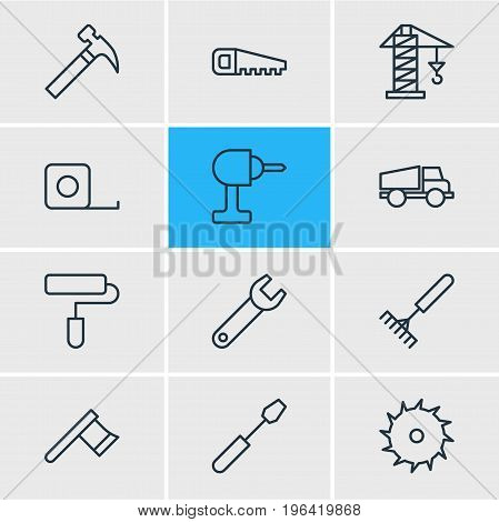 Editable Pack Of Hatchet, Handle Hit, Lorry Elements. Vector Illustration Of 12 Construction Icons.