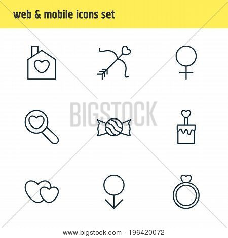 Editable Pack Of Cupid, Woman, Male And Other Elements. Vector Illustration Of 9 Amour Icons.