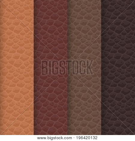 Vector set of seamless leather textures based on a brown palette. The shades of a sharp realistic patterns are aligned with established traditional colors of a caramel, chocolate, cocoa and coffee.