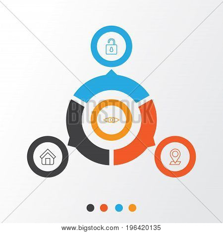 Internet Icons Set. Collection Of Pinpoint, Estate, Unlock And Other Elements