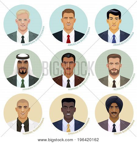 Vector set of international businessman faces. Attractive male avatars of various nations in the round frames. European, American, Asian, Arabian, Hispanic, Russian, Turkish, African and Indian types.