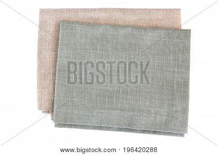 Two gray textile napkins isolated on white background
