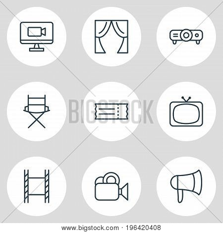 Editable Pack Of Megaphone, Theater, Shooting Seat And Other Elements. Vector Illustration Of 9 Cinema Icons.