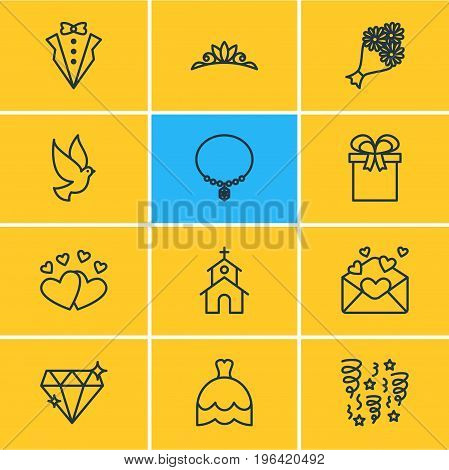 Editable Pack Of Present, Bridegroom Dress, Jewelry And Other Elements. Vector Illustration Of 12 Marriage Icons.