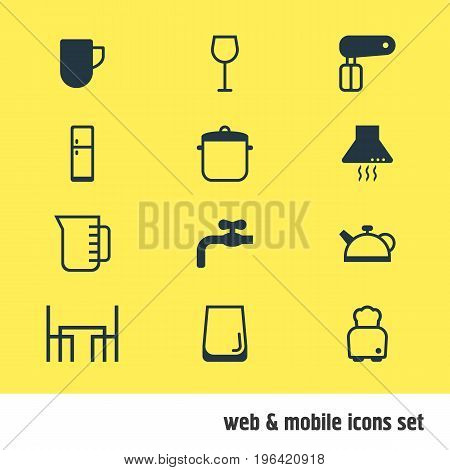 Editable Pack Of Teakettle, Soup Pan, Whisk And Other Elements. Vector Illustration Of 12 Restaurant Icons.