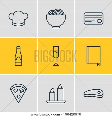 Vector Illustration Of 9 Cafe Icons. Editable Pack Of Fire Wax, Pepperoni, Bowl And Other Elements.