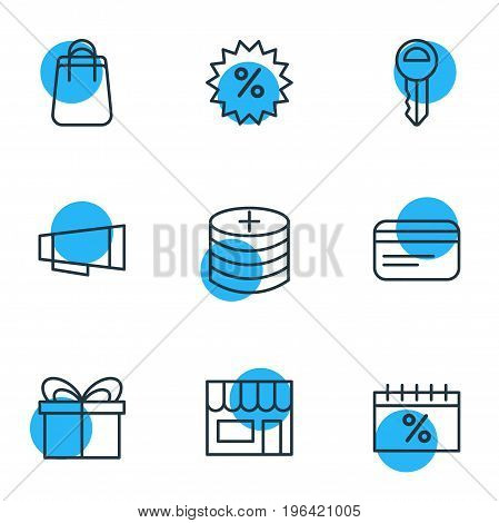 Editable Pack Of Present, Shopping, Sales And Other Elements. Vector Illustration Of 9 Wholesale Icons.