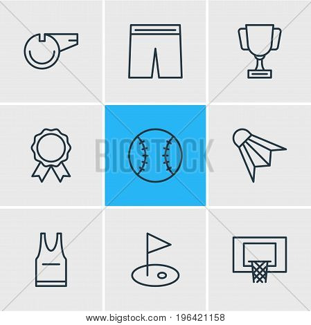 Editable Pack Of T-Shirt, Badminton, Uniform And Other Elements. Vector Illustration Of 9 Athletic Icons.