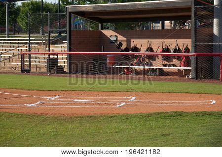 Baseball Field Home Plate and Dugout with Equipment