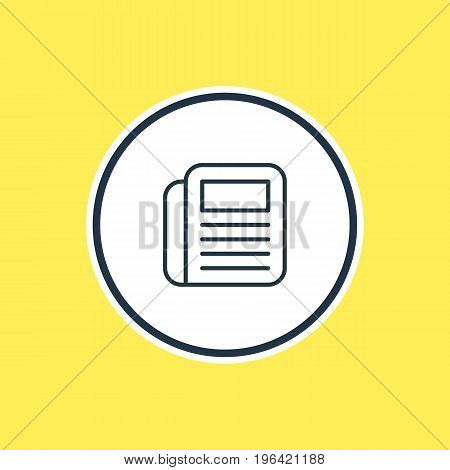Beautiful Office Element Also Can Be Used As Journal  Element. Vector Illustration Of Newspaper Outline.