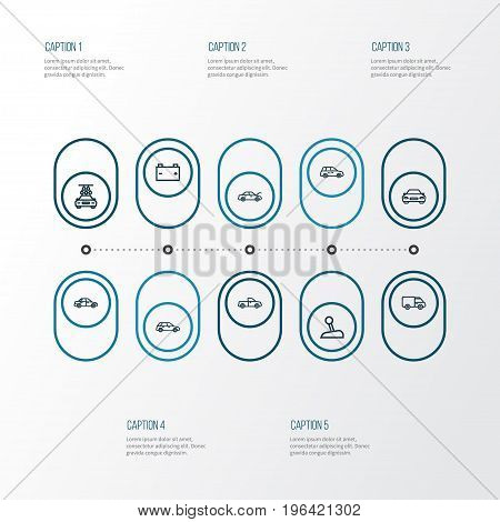 Automobile Outline Icons Set. Collection Of Sedan, Car, Automobile And Other Elements