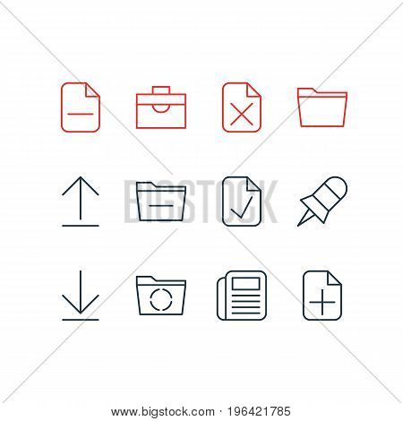 Vector Illustration Of 12 Office Icons. Editable Pack Of Template, Install, Plus And Other Elements.