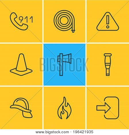 Vector Illustration Of 9 Extra Icons. Editable Pack Of Door, Hotline, Taper And Other Elements.