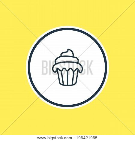 Vector Illustration Of Muffin Outline. Beautiful Banquet Element Also Can Be Used As Cupcake Element.