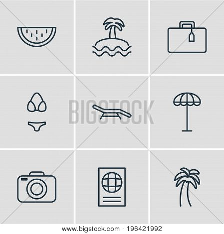 Vector Illustration Of 9 Season Icons. Editable Pack Of Photo Apparatus, Palm , Island Elements.