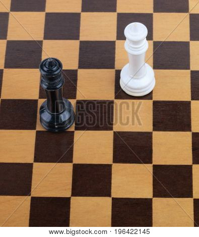 image of one wooden checkerboard with figures