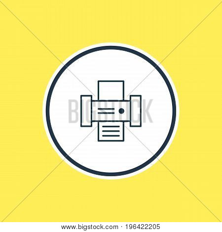 Vector Illustration Of Printer Outline. Beautiful Device Element Also Can Be Used As Photocopier Element.