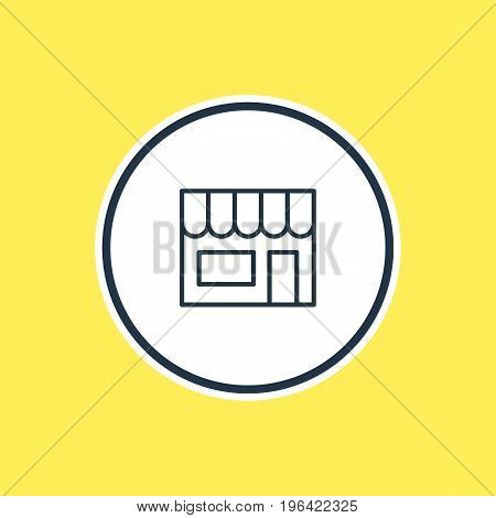 Beautiful Commerce Element Also Can Be Used As Market  Element. Vector Illustration Of Shop Outline.