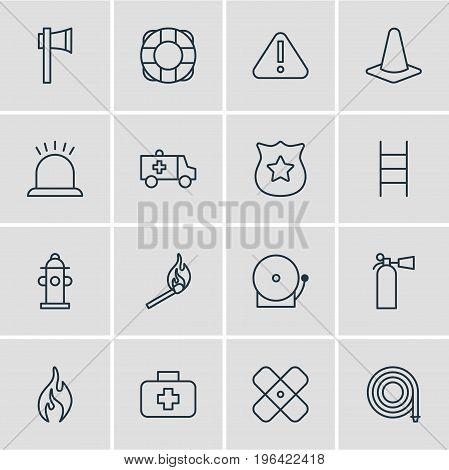 Vector Illustration Of 16 Emergency Icons. Editable Pack Of First-Aid, Adhesive, Alarm And Other Elements.
