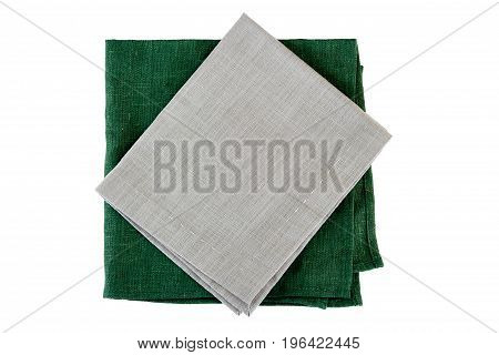 Green and gray textile napkins isolated on white background
