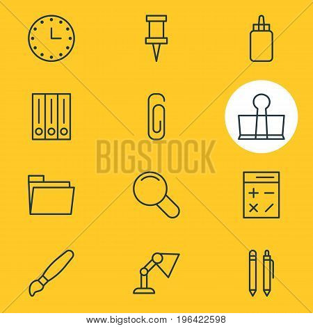 Vector Illustration Of 12 Stationery Icons. Editable Pack Of Calculate, Pushpin, Binder Clip And Other Elements.
