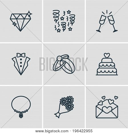 Vector Illustration Of 9 Engagement Icons. Editable Pack Of Card, Decoration, Wineglass And Other Elements.