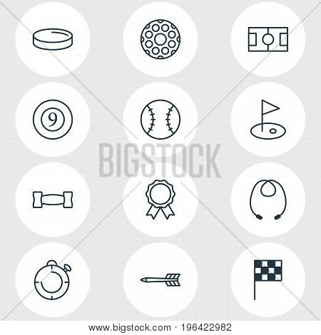Vector Illustration Of 12 Sport Icons. Editable Pack Of Darts, Football, Golf And Other Elements.