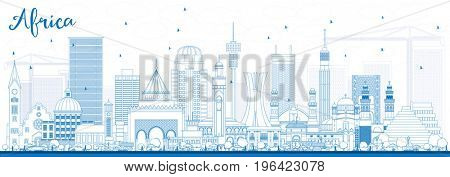 Outline Africa Skyline with Famous Landmarks. Business Travel and Tourism Concept. Image for Presentation, Banner, Placard and Web Site.