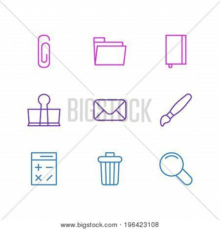Editable Pack Of Letter, Paperclip, Paint And Other Elements. Vector Illustration Of 9 Instruments Icons.