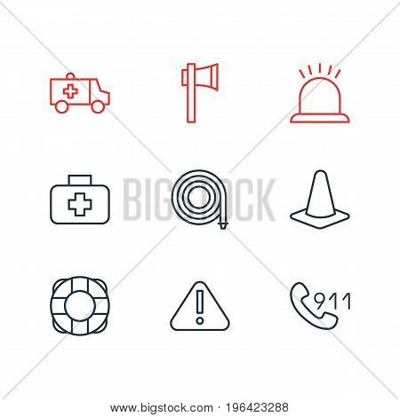 Editable Pack Of Lifesaver, Alarm, Ax And Other Elements. Vector Illustration Of 9 Extra Icons.
