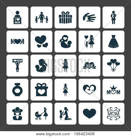Mothers Day Icon Design Concept. Set Of 25 Such Elements As Daughter, Evening Gown And People