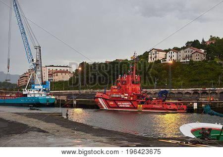 Maritime Rescue Boat Of Salvamento Maritimo Port Of Hondarribia, Basque Country, Spain.