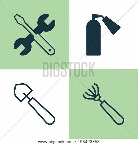 Tools Icons Set. Collection Of Firefighter, Harrow, Scoop And Other Elements