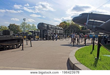 KYIV, UKRAINE - MAY 16, 2015: Unidentified people in Ukrainian State Museum of the Great Patriotic War with exposed planes