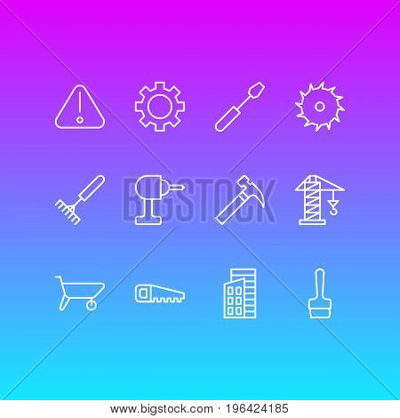 Editable Pack Of Cogwheel, Handle Hit, Road Sign Elements. Vector Illustration Of 12 Industry Icons.