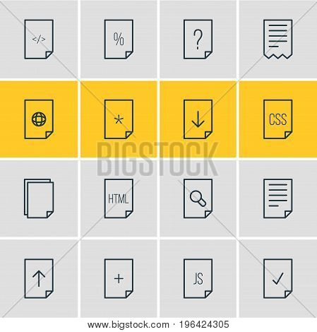 Vector Illustration Of 16 Document Icons. Editable Pack Of HTML, Internet, Download And Other Elements.