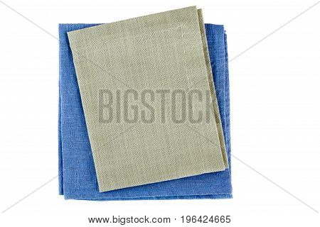 Blue and gray textile napkins isolated on white background