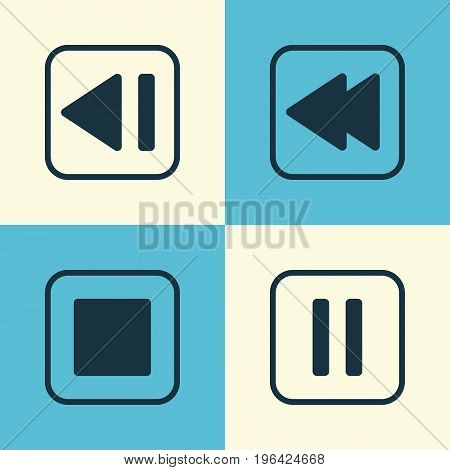 Audio Icons Set. Collection Of Stop Button, Mute Song, Last Song And Other Elements