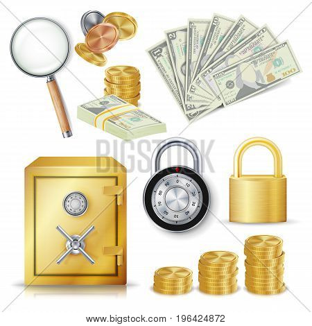 Money Secure Concept Vector. Gold Metal Coins, Money Banknotes Stacks, Encryption Padlock, Safe, Realistic Magnifying Glass. Commercial Investment Illustration Isolated