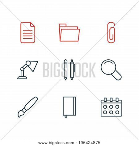 Editable Pack Of Paperclip, Copybook, Dossier And Other Elements. Vector Illustration Of 9 Instruments Icons.