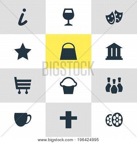 Vector Illustration Of 12 Check-In Icons. Editable Pack Of Handbag, Film , Shopping Cart Elements.